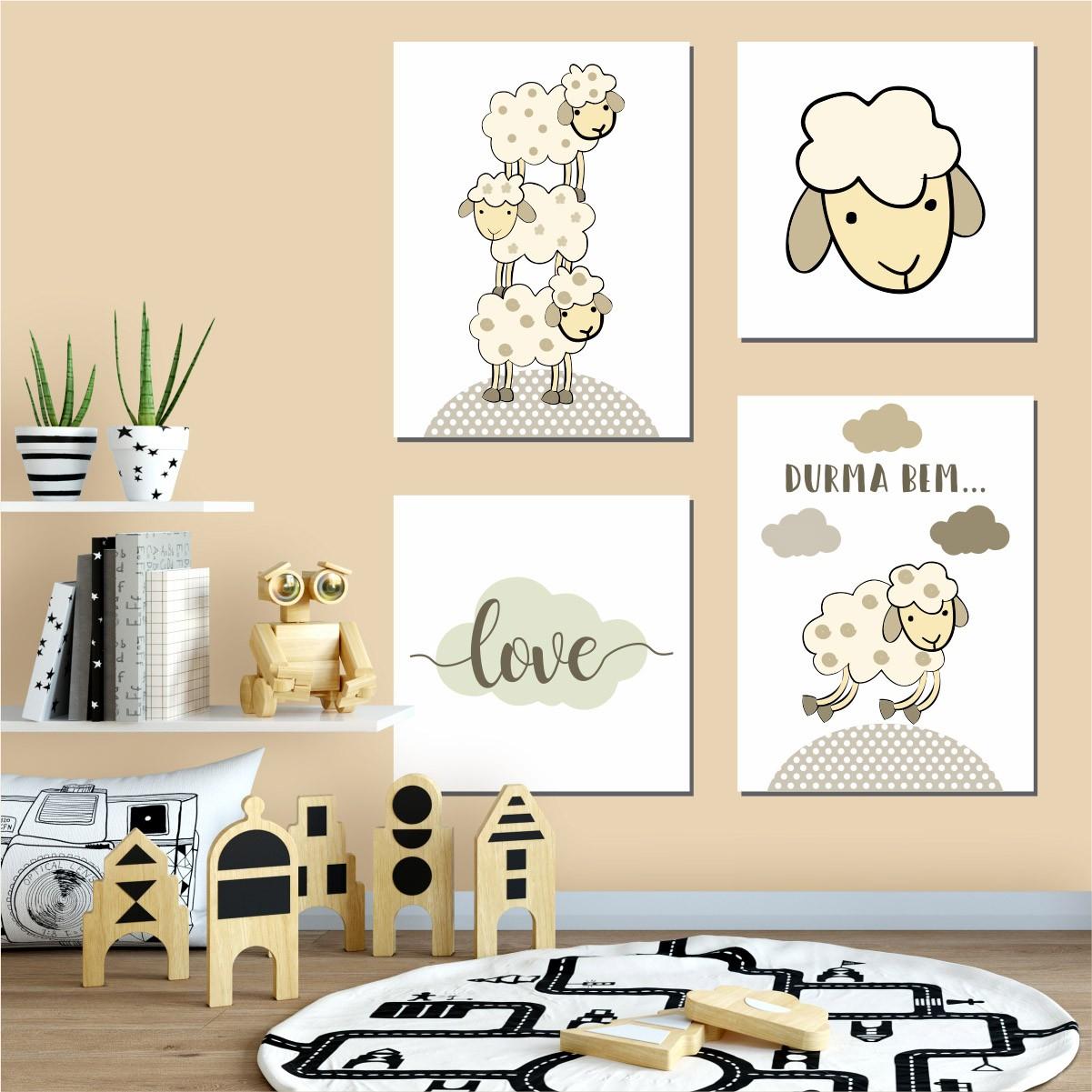 Kit Quadro Placa Decorativa MDF Quarto Infantil Ovelha 4 pçs