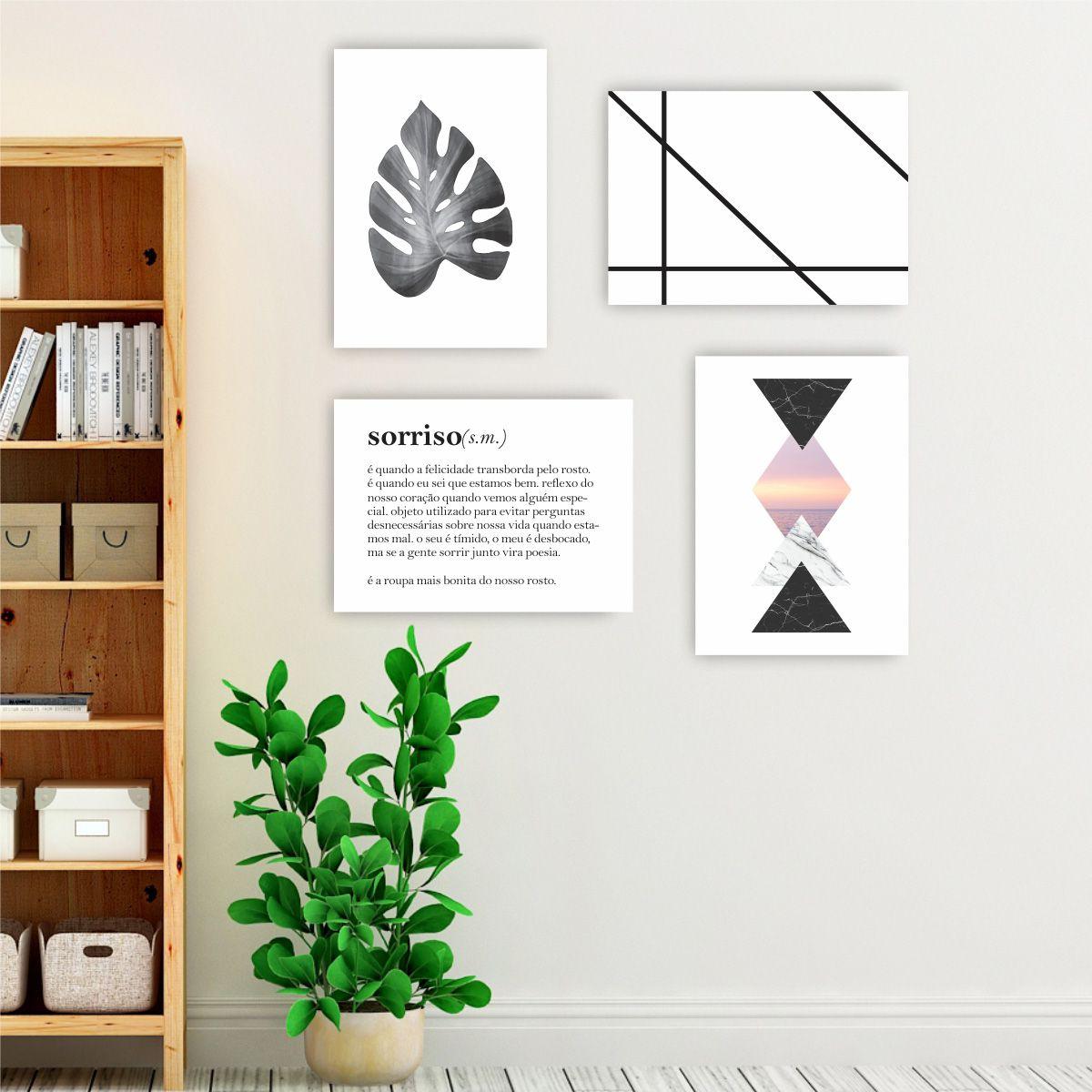 Kit Quadro Placa Decorativa MDF Frase Sala Quarto 4 peças