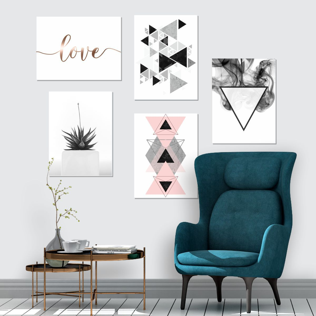 Kit 5 Placas Decorativas Love