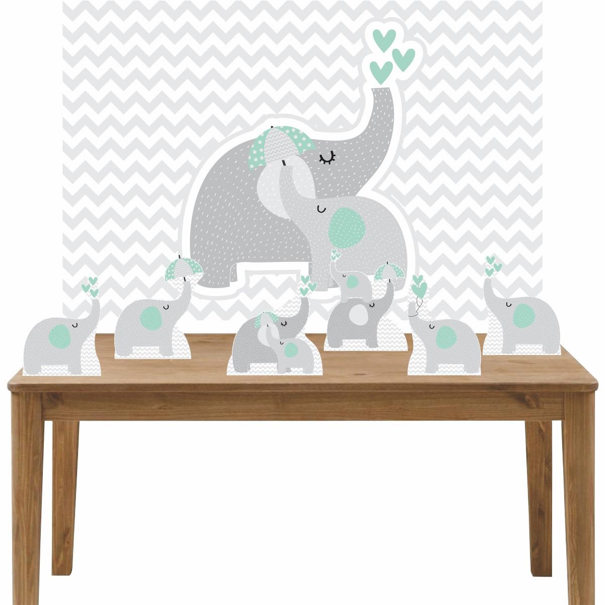 Kit 6 Displays de Mesa e Painel Elefante Verde