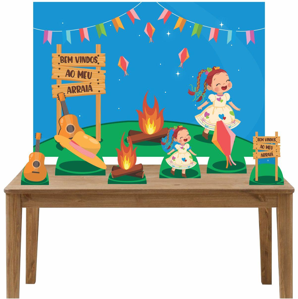Kit 6 Displays de Mesa e Painel Festa Junina Menina