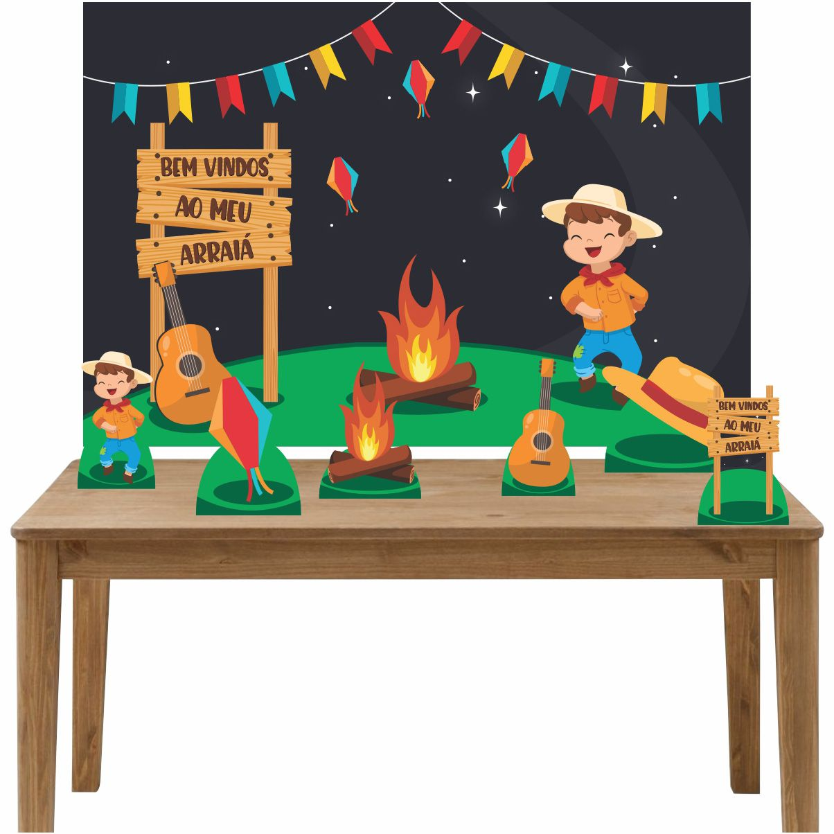 Kit 6 Displays de Mesa e Painel Festa Junina Menino