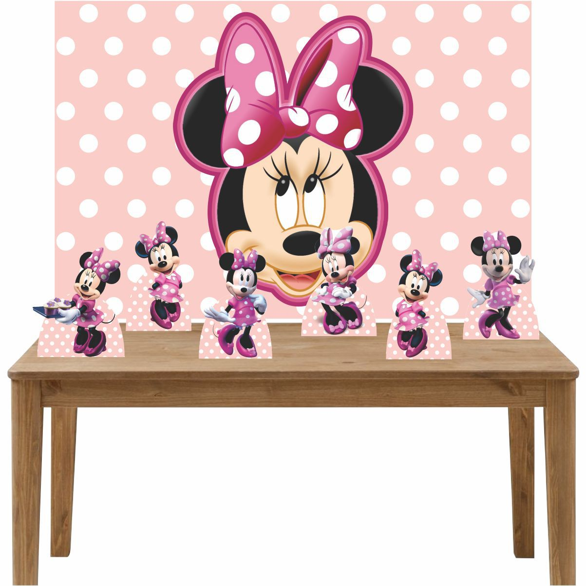 Kit 6 Displays de Mesa e Painel Minnie Rosa