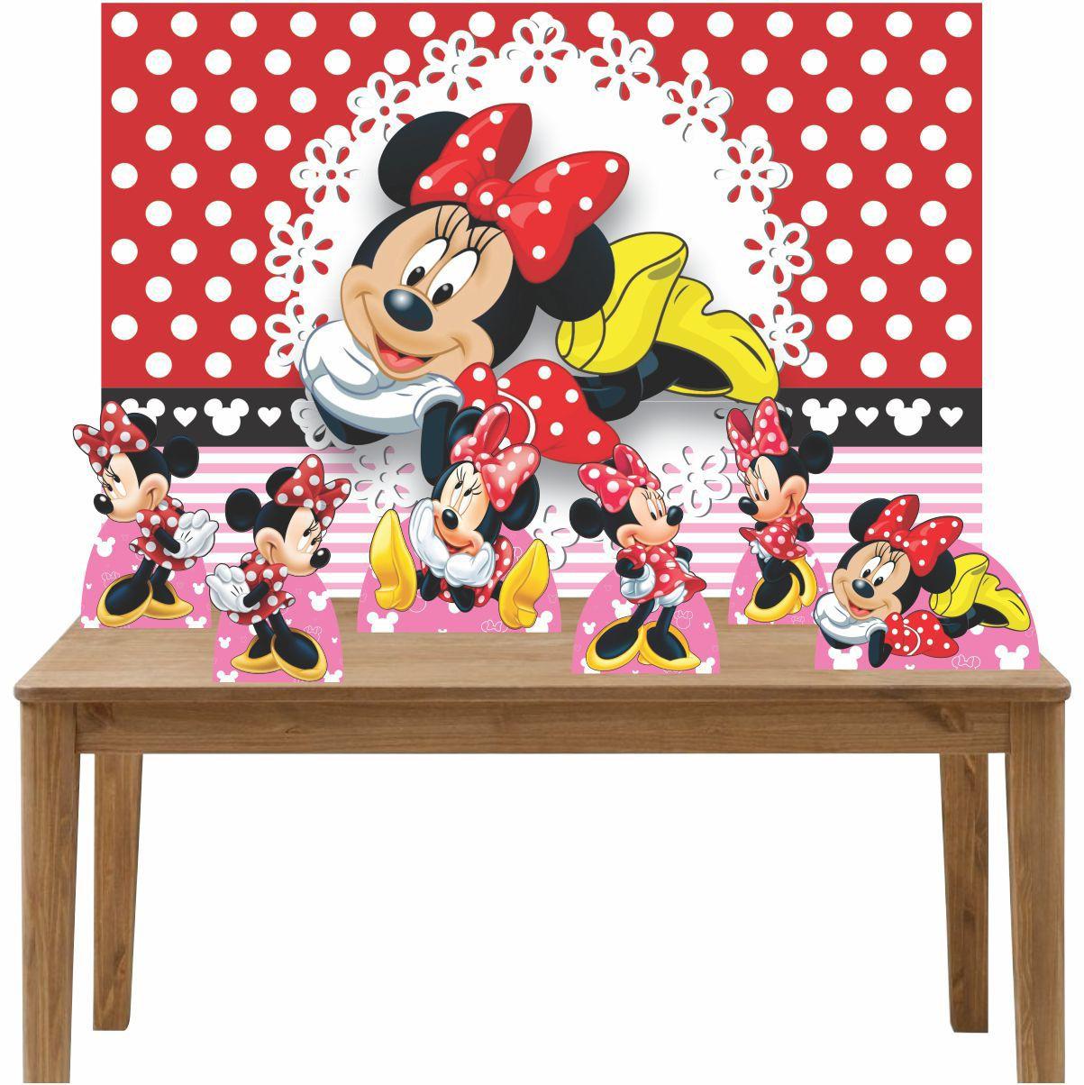 Kit 6 Displays de Mesa e Painel Minnie Vermelha
