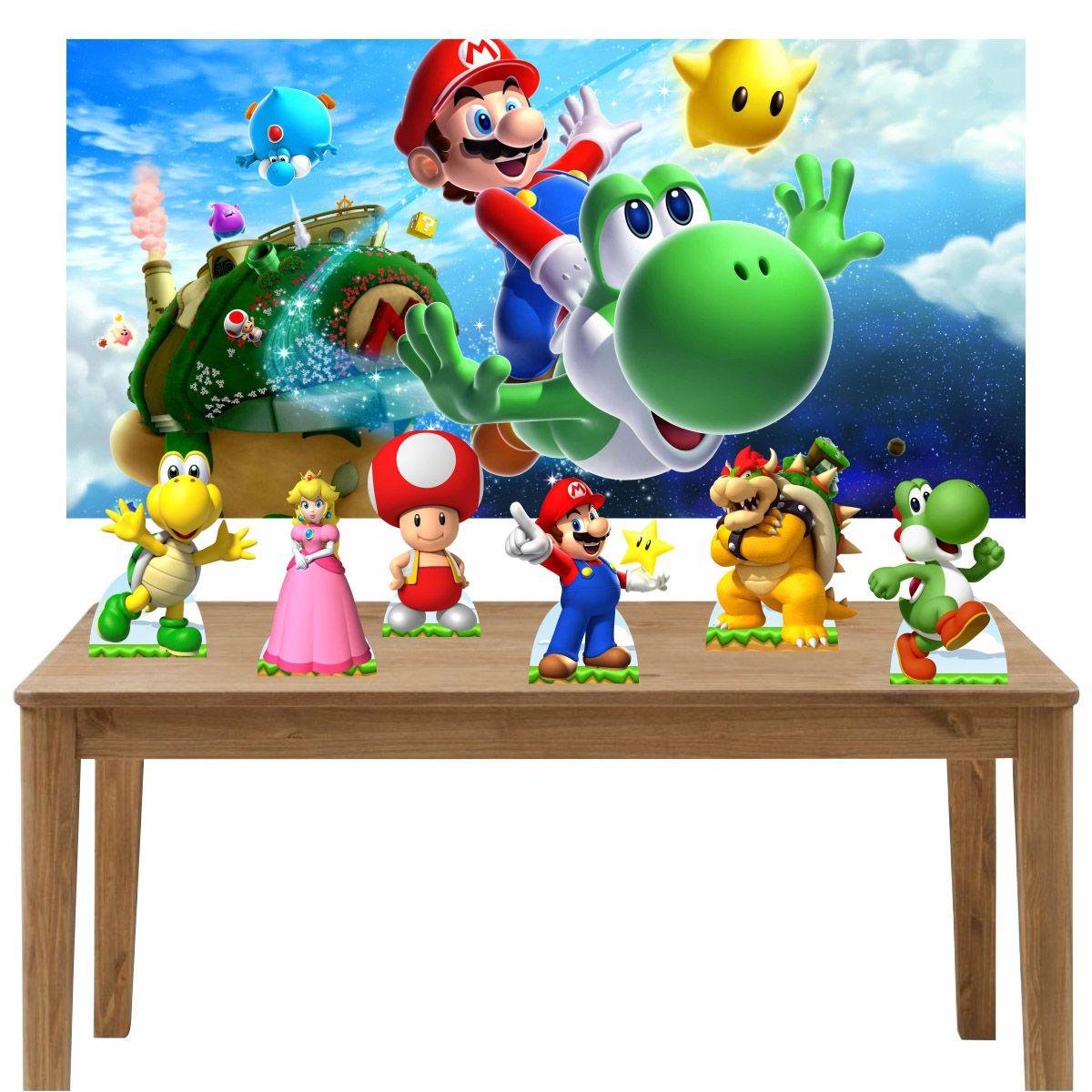 Kit 6 Displays de Mesa e Painel Super Mario