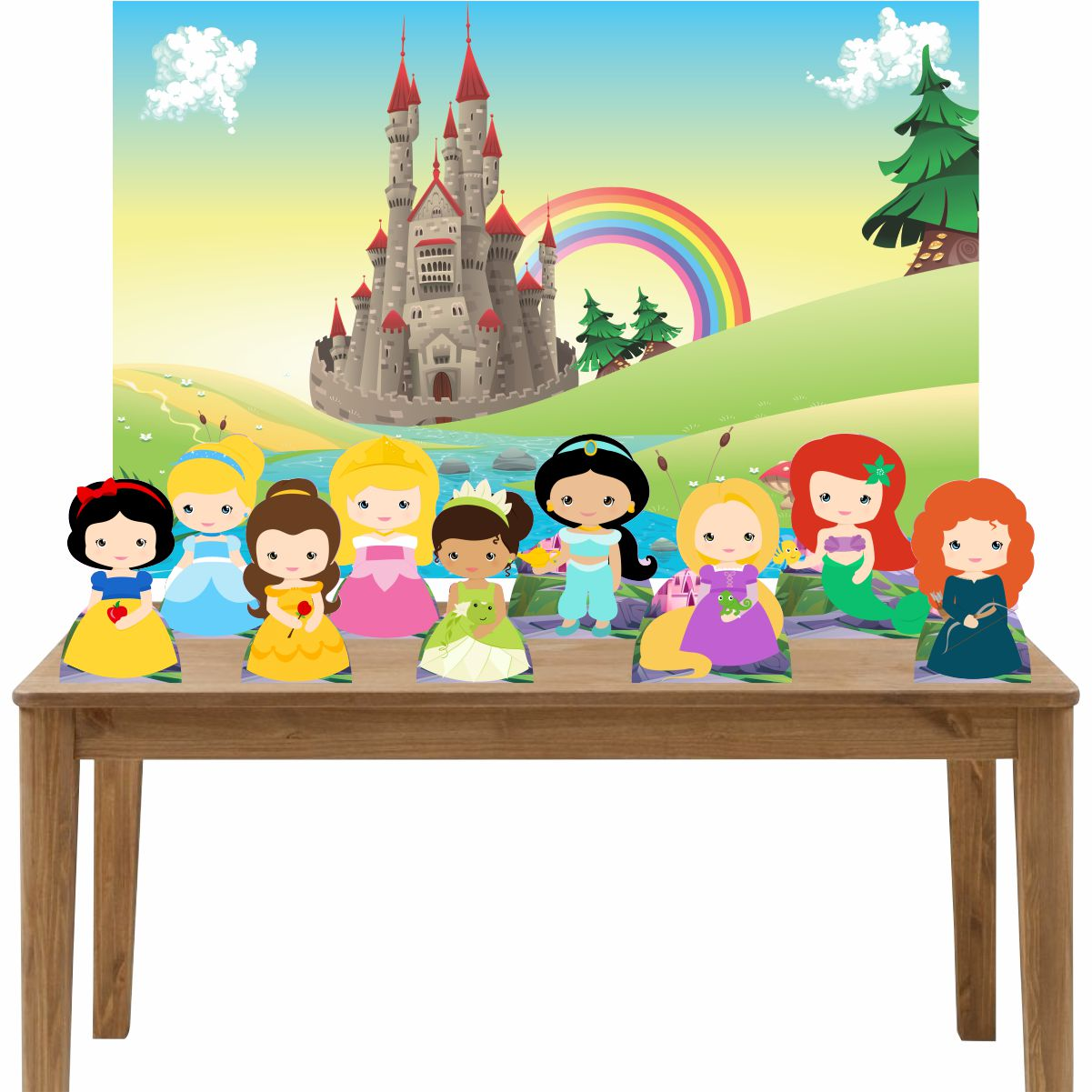 Kit 9 Displays de Mesa e Painel Princesas Cute