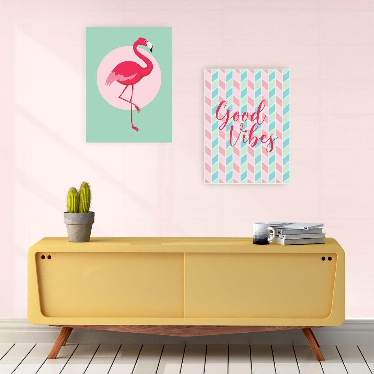 Kit 2 Placas Decorativas Good Vibes Flamingo