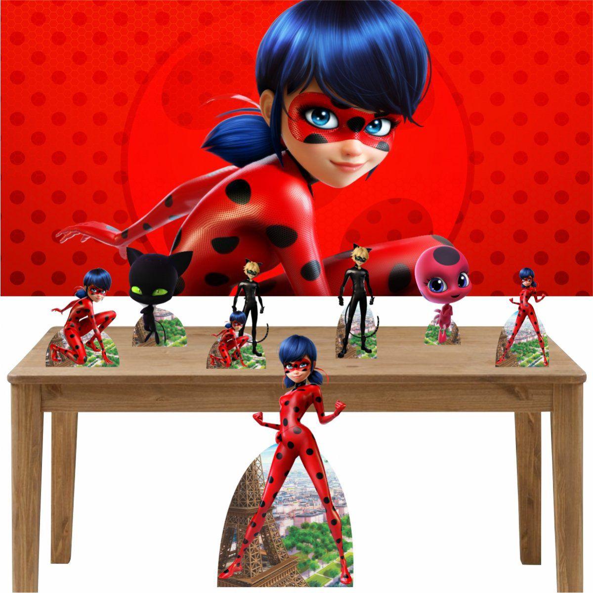 Kit Decoração de Festa Totem Display 8 Peças Ladybug