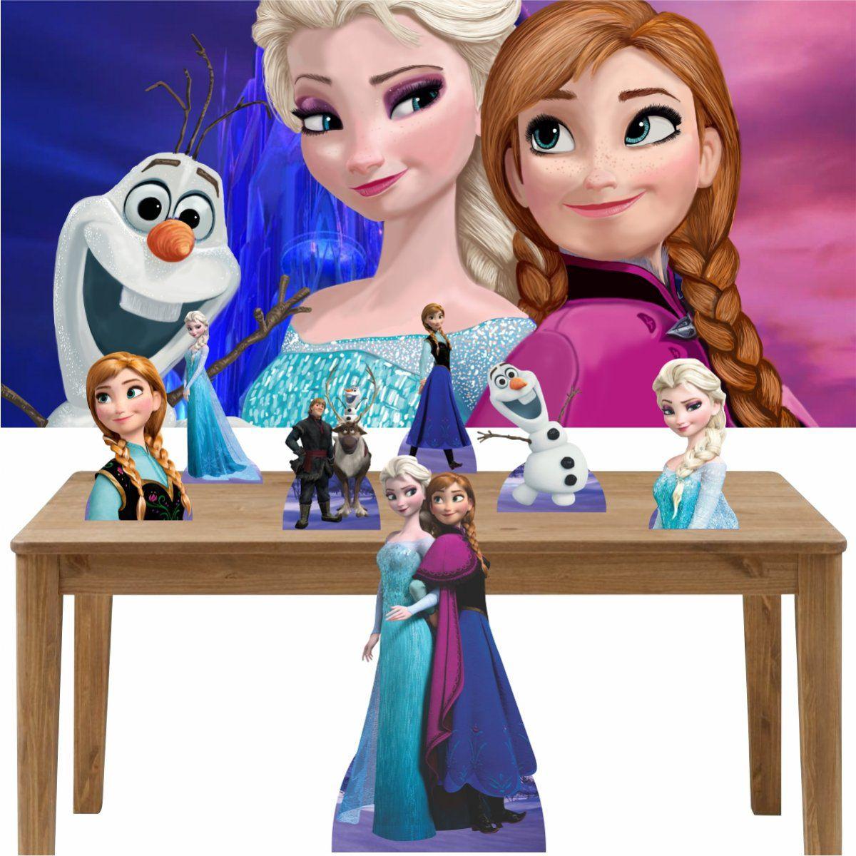 Kit Decoração de Festa Totem Display 8 peças Frozen