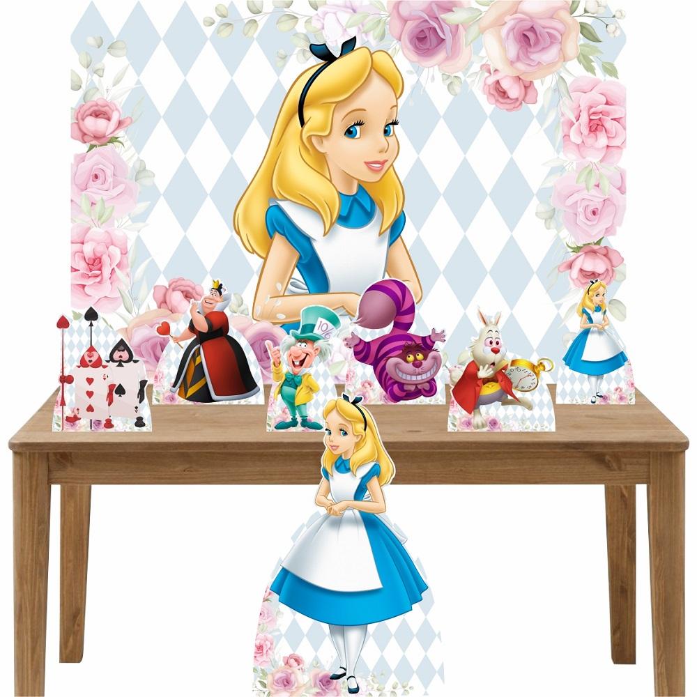 Kit Decoração de Festa Totem Display 8 peças Alice no País das Maravilhas II