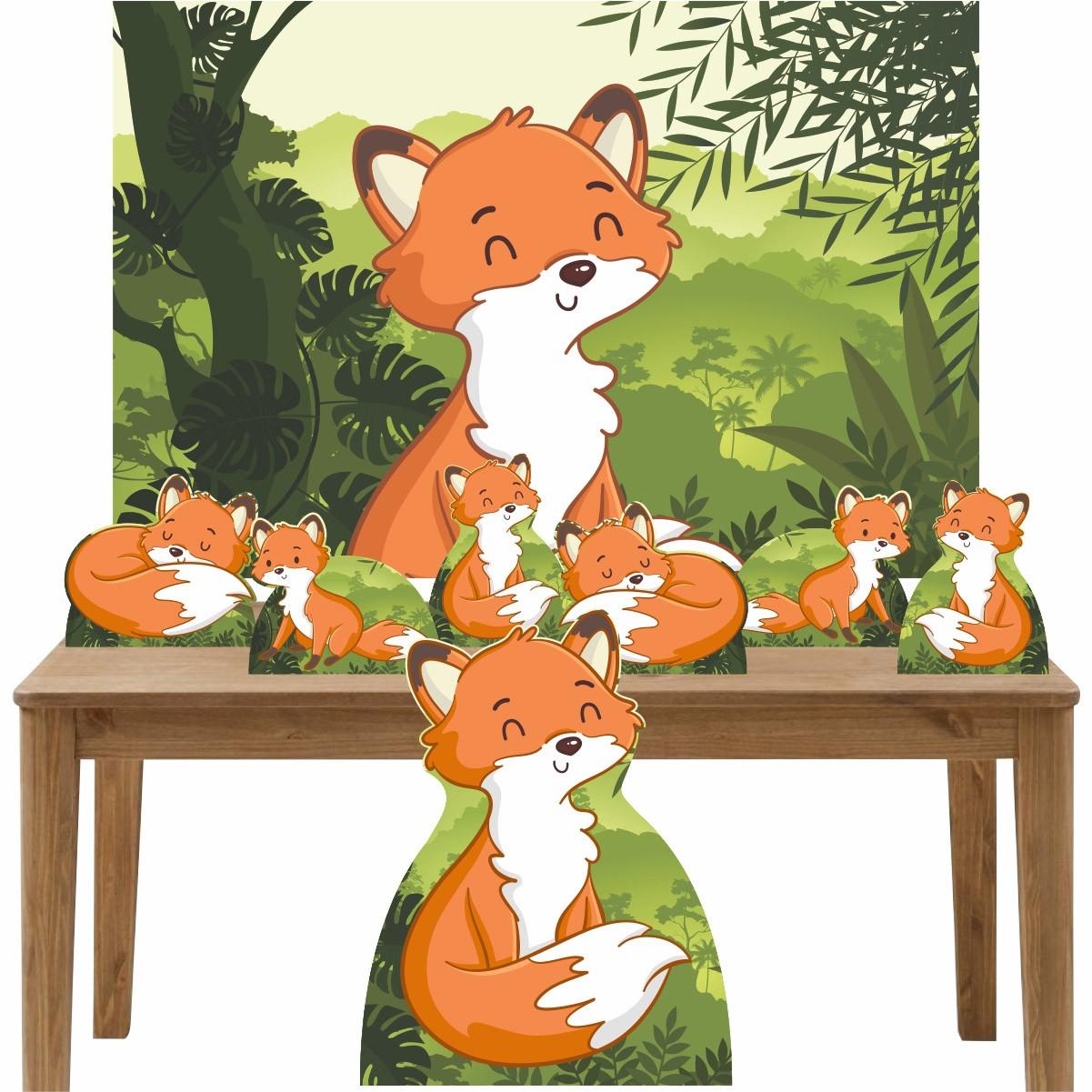 Kit Decoração de Festa Totem Display 8 peças Raposinha