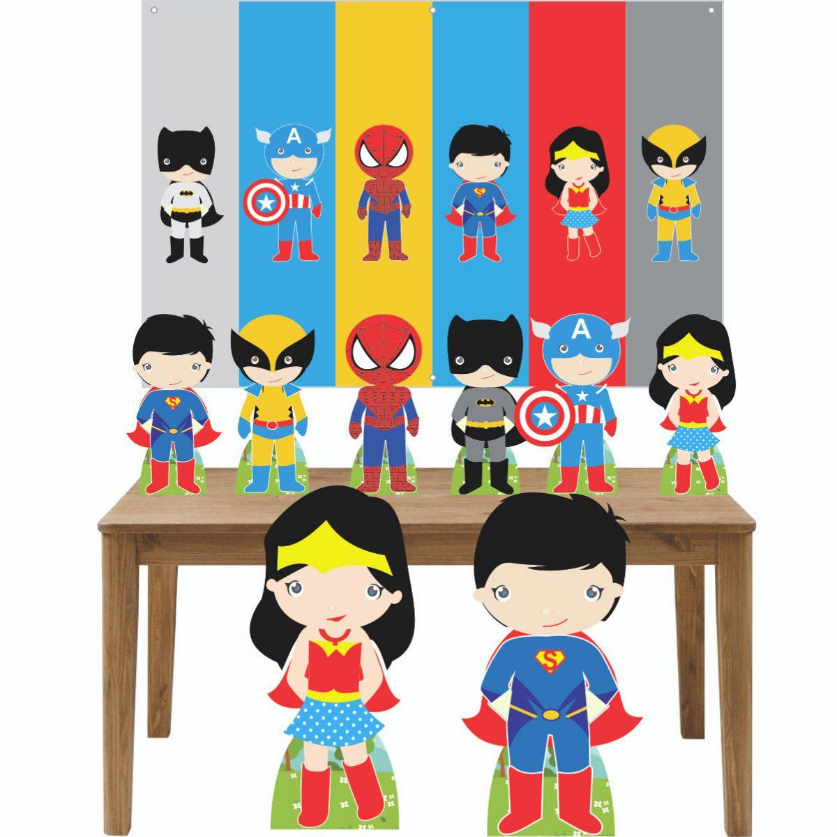 Kit Decoração de Festa Totem Display 9 peças Heróis Baby