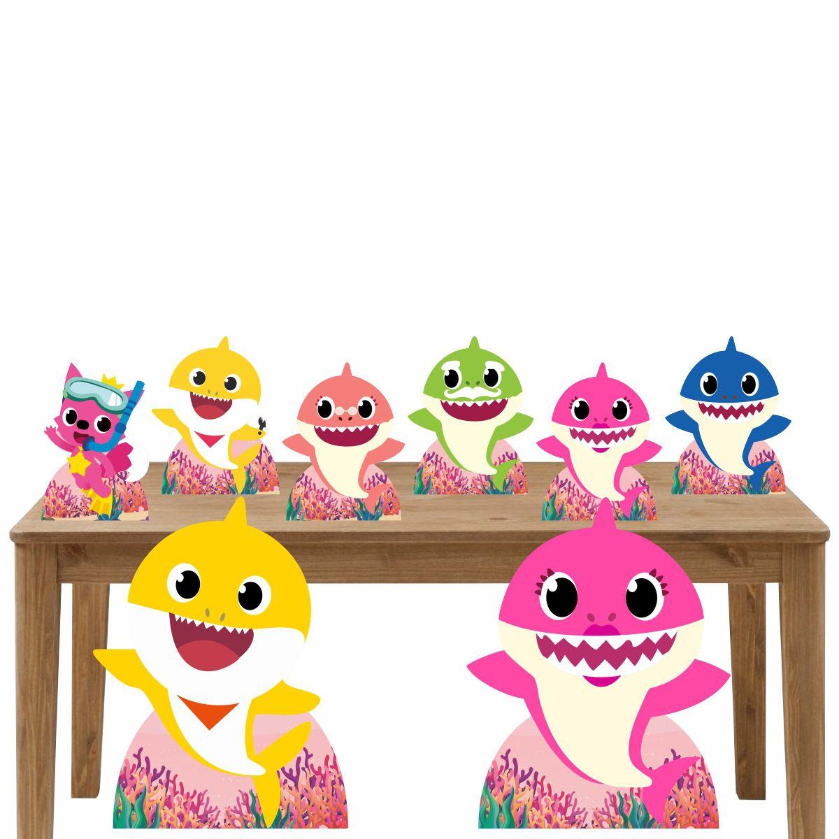 Kit Decoração de Festa Totem Display Baby Shark Rosa 8 Peças