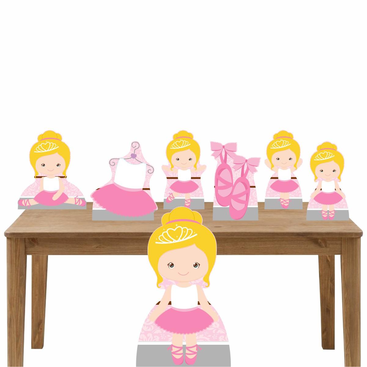 Kit Decoração de Festa Totem Display Bailarina Mod 2 - 7 Peças
