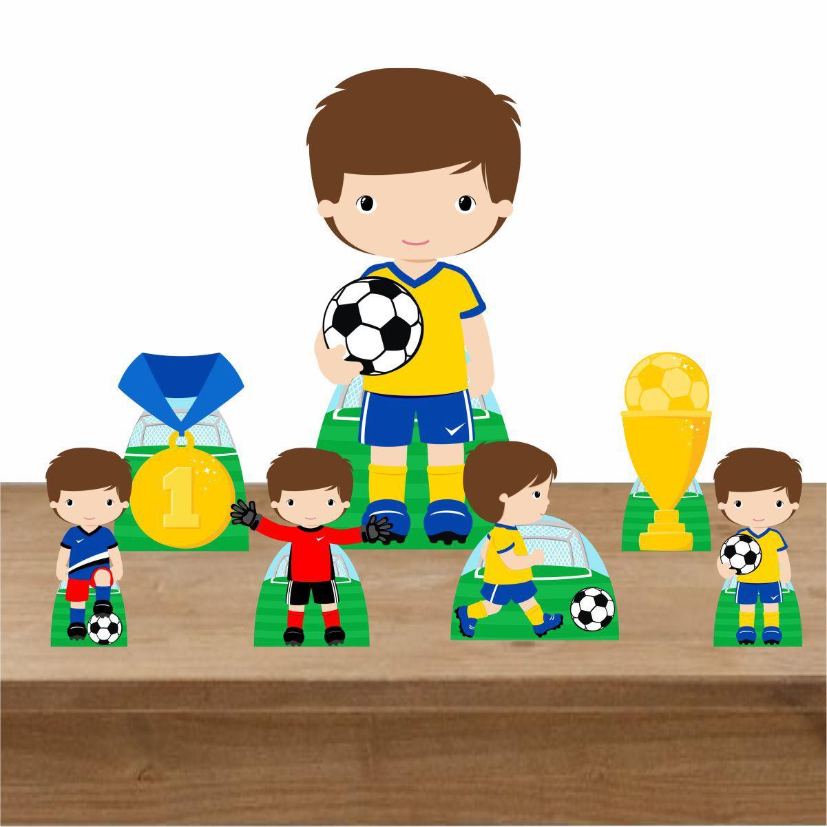 Kit Decoração de Festa Totem Display Futebol Cute 7 Peças
