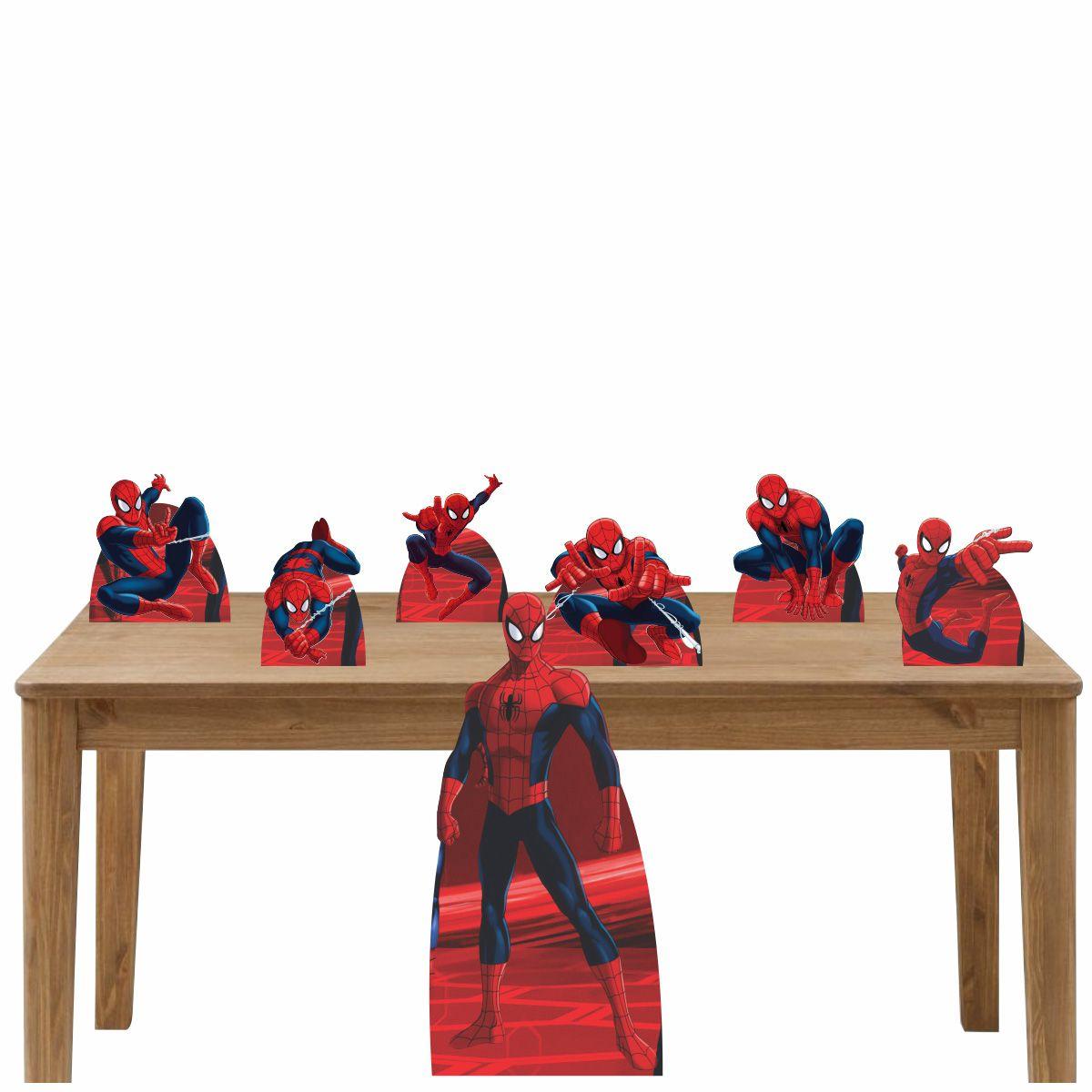 Kit Decoração de Festa Totem Display Homem Aranha - 7 Peças