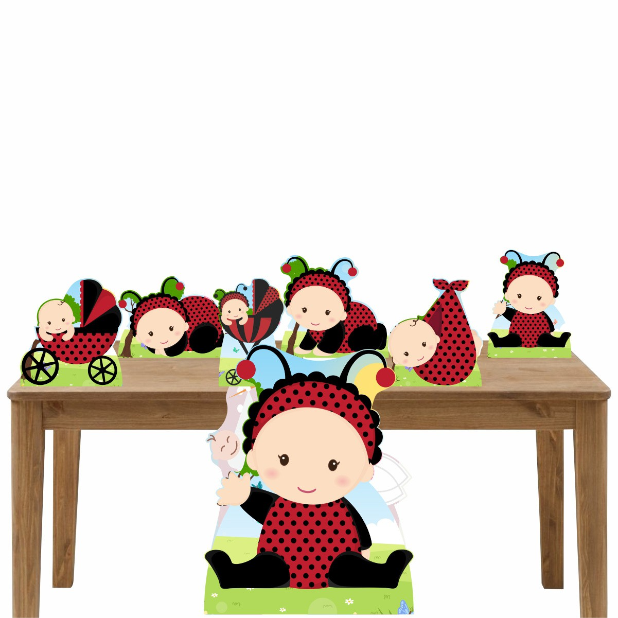 Kit Decoração de Festa Totem Display Joaninha 7 Peças