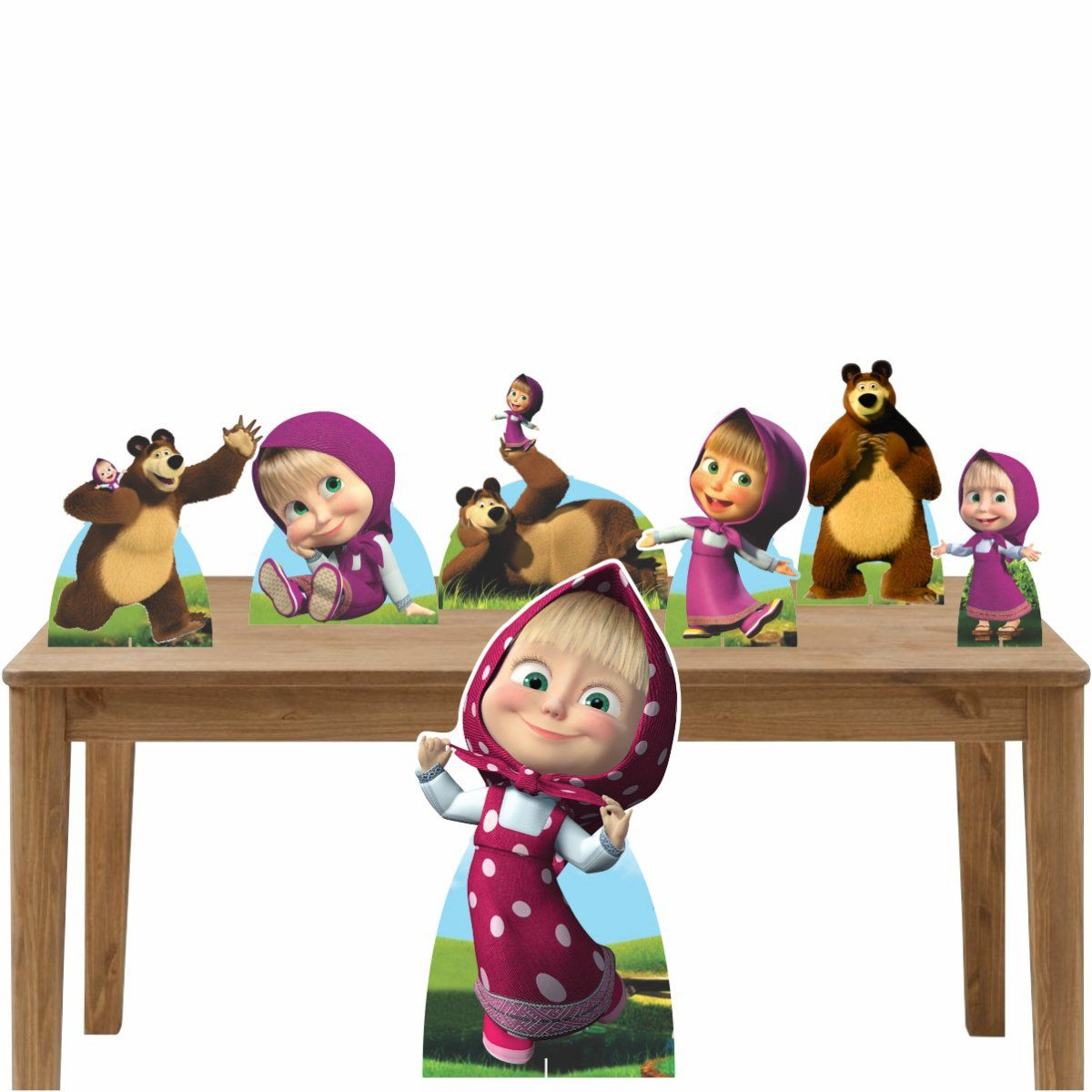 Kit Decoração de Festa Totem Display Masha e o Urso-7 Peças