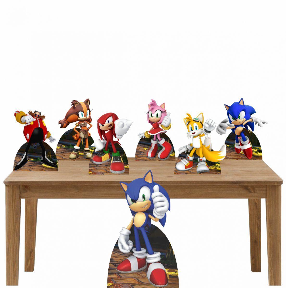 Kit Decoração de Festa Totem Display Sonic - 7 Peças