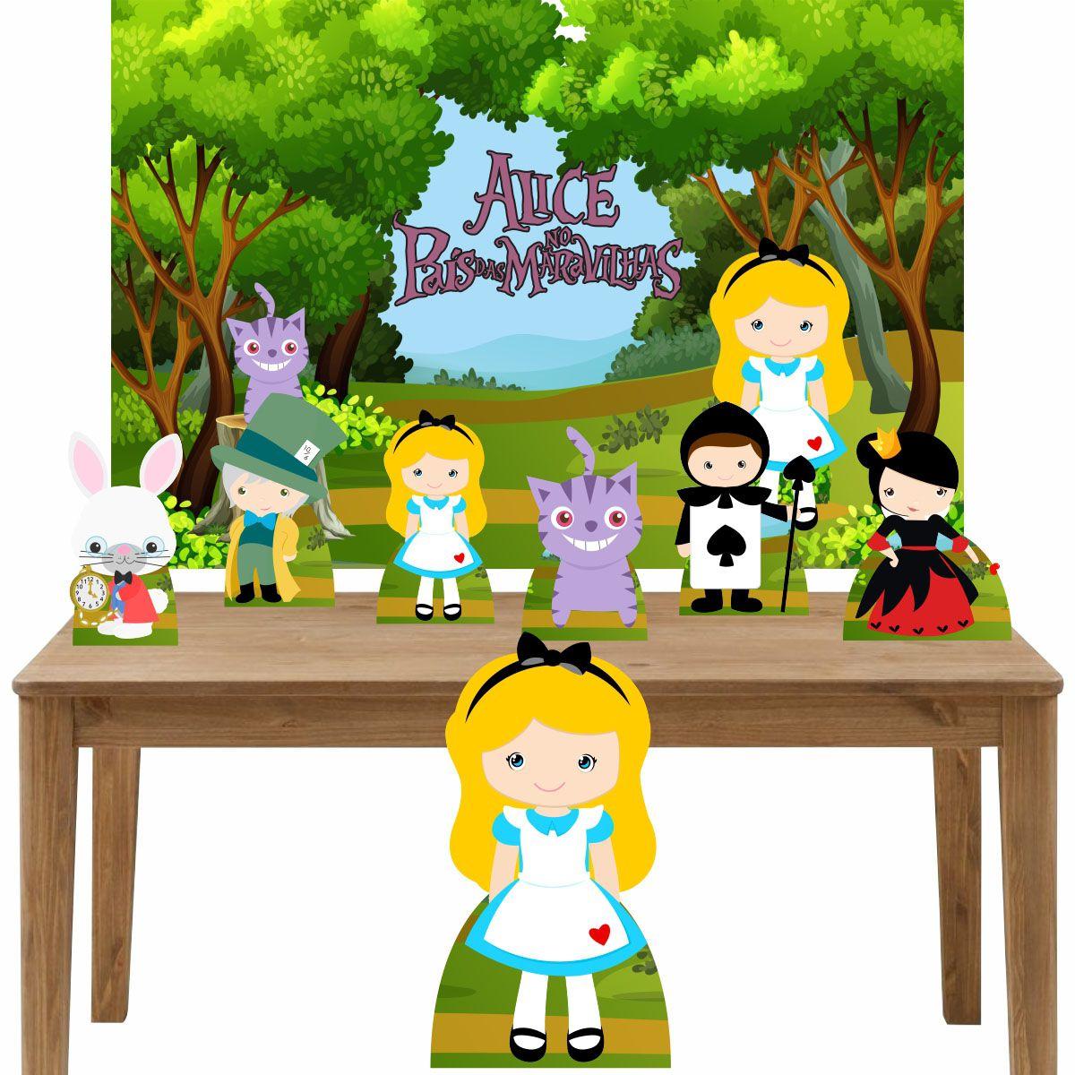Kit Decoração Festa Totem Display 8 peças Alice no País das Maravilhas