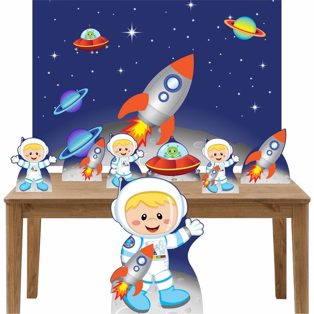 Kit Decoração Festa Totem Display 8 peças Astronauta 3