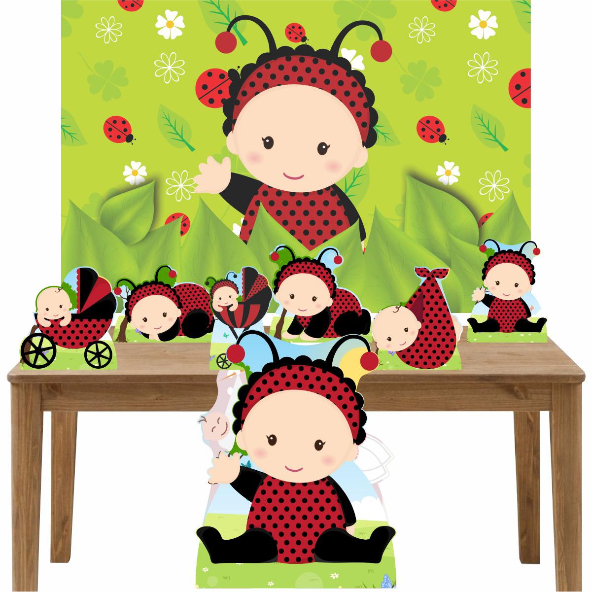 Kit Decoração Festa Totem Display 8 peças Joaninha