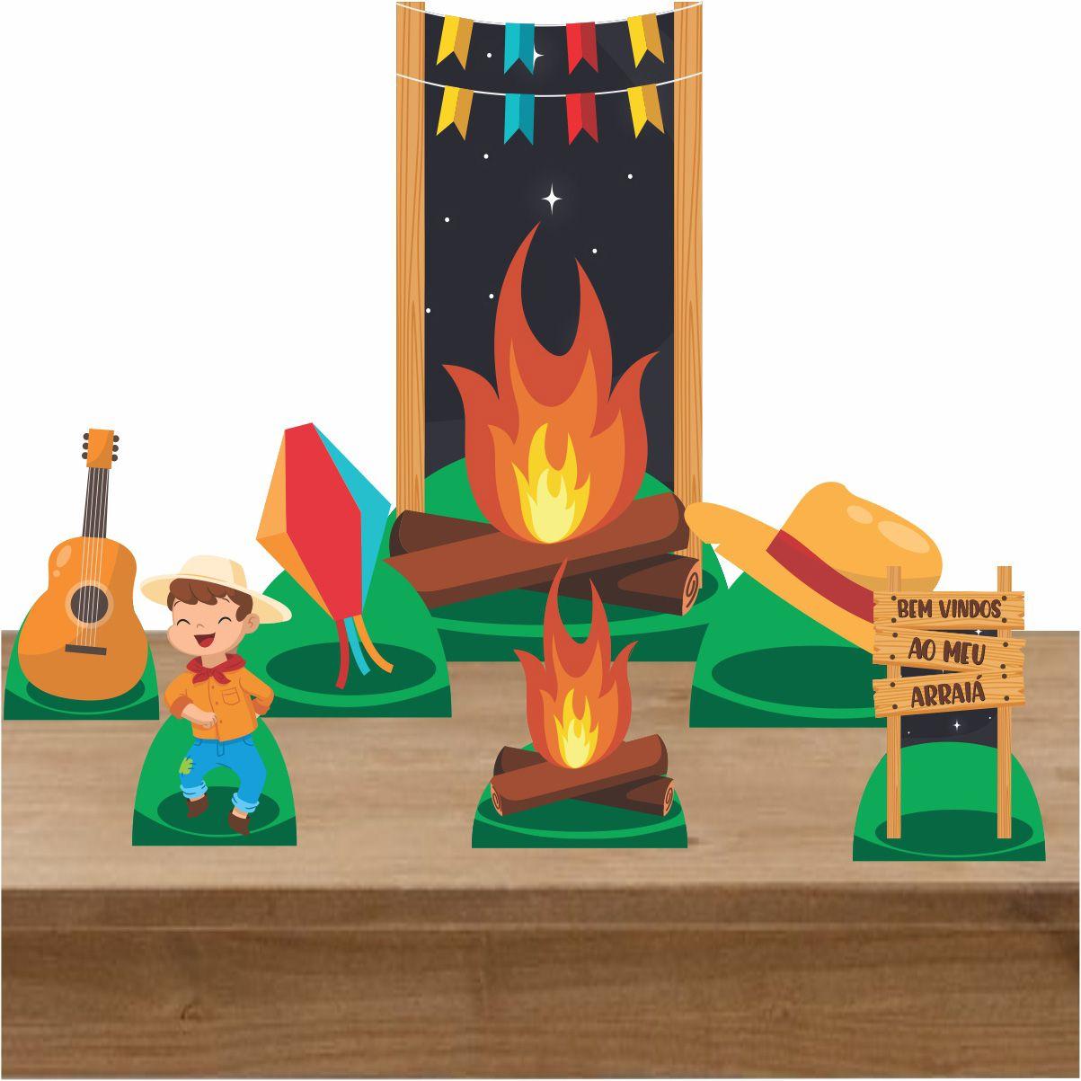 Kit Decoração Totem Display Festa Junina Menino 7 Peças