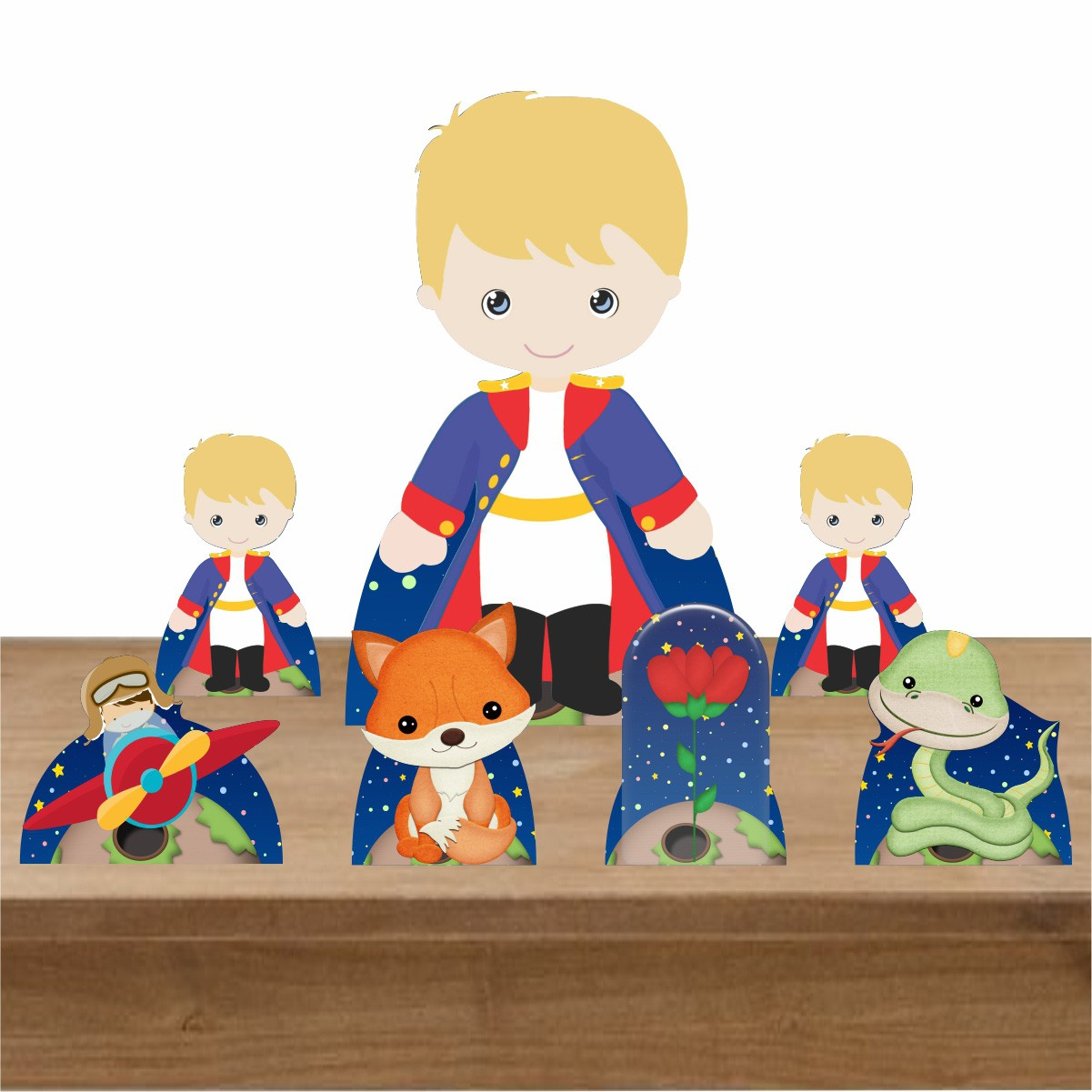 Kit Decoração Totem Display Pequeno Príncipe 7 Peças