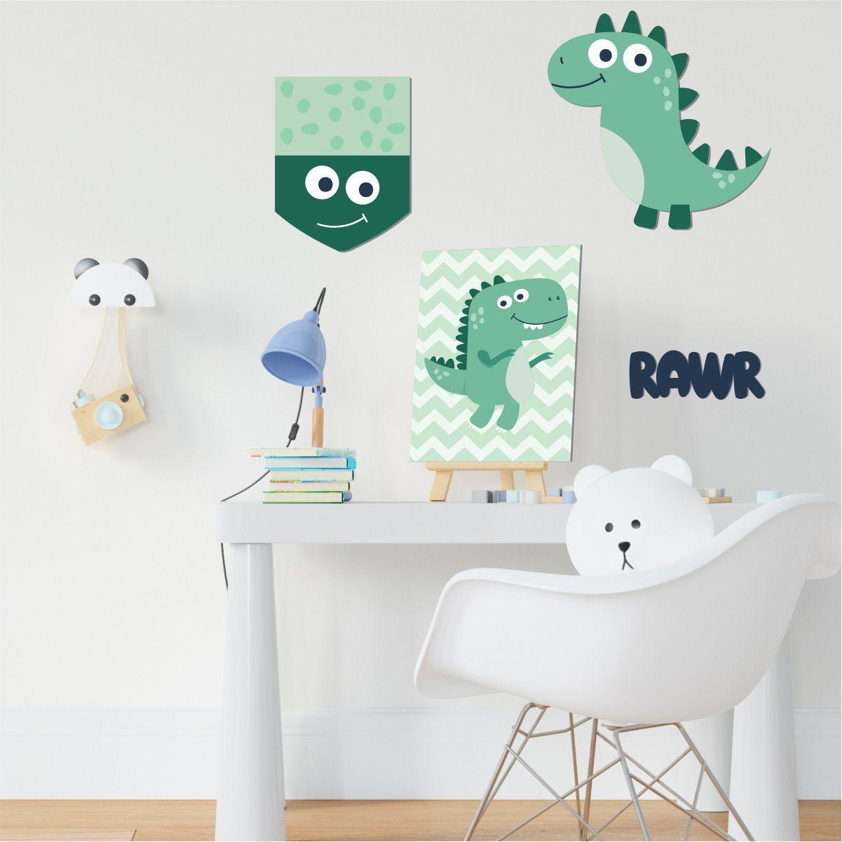 Kit Quadro Decorativo Em Mdf P/ Quarto Infantil Dinossauro