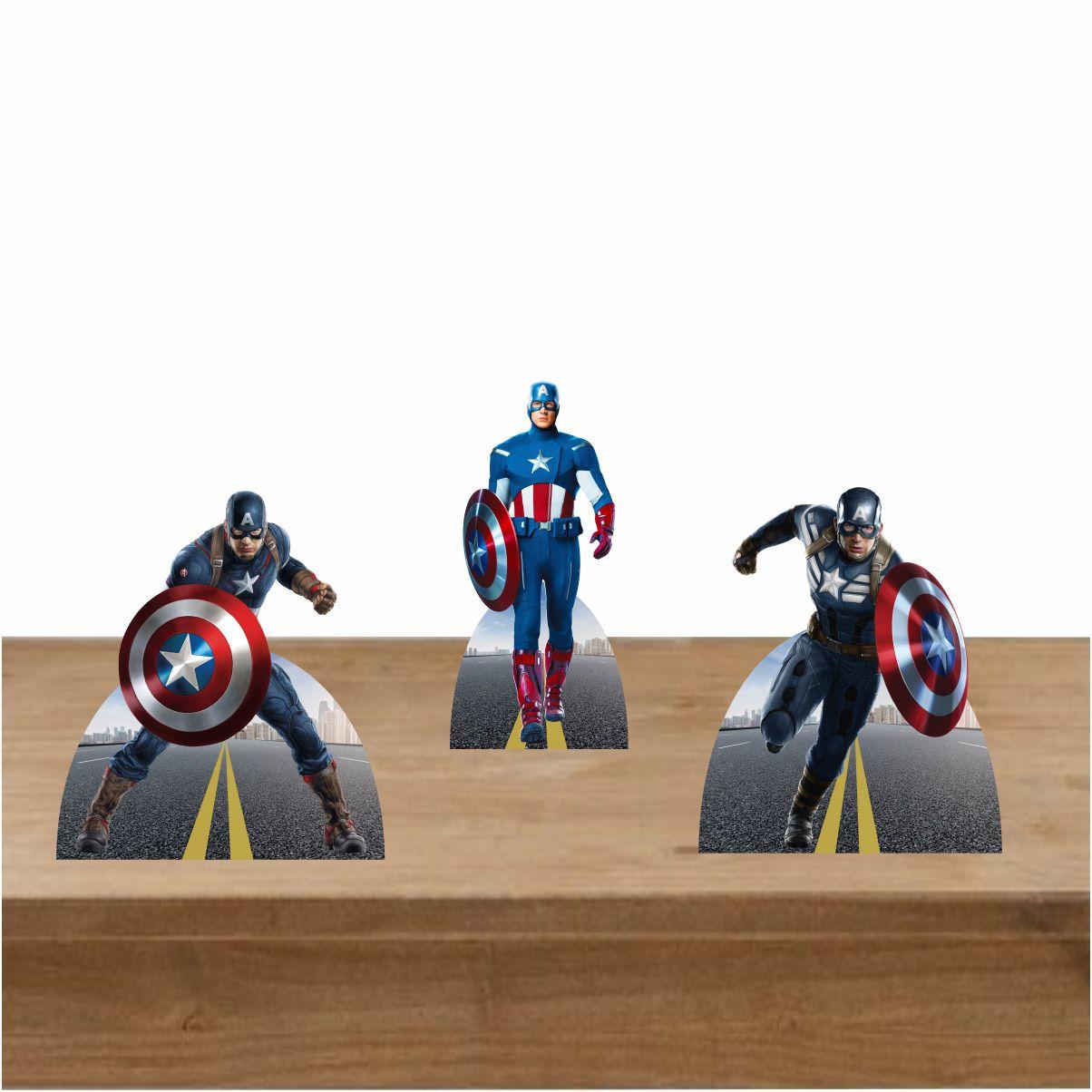 Kit Festa 3 Displays de Mesa Capitão América