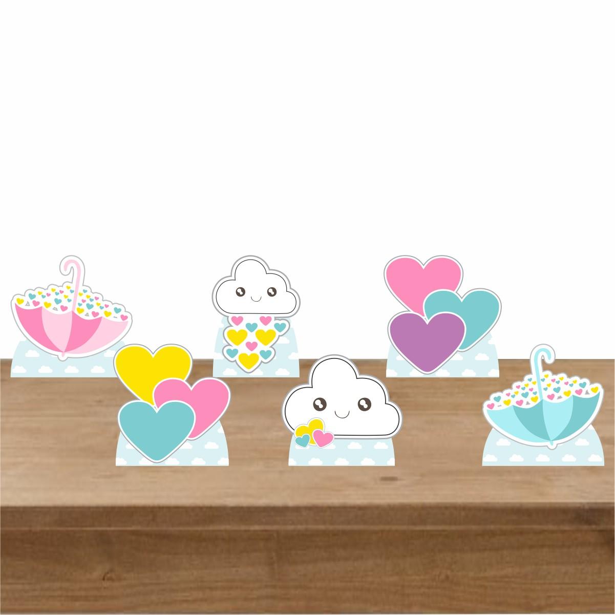 Kit Festa 6 Displays de Mesa Aniversário Chuva de Amor