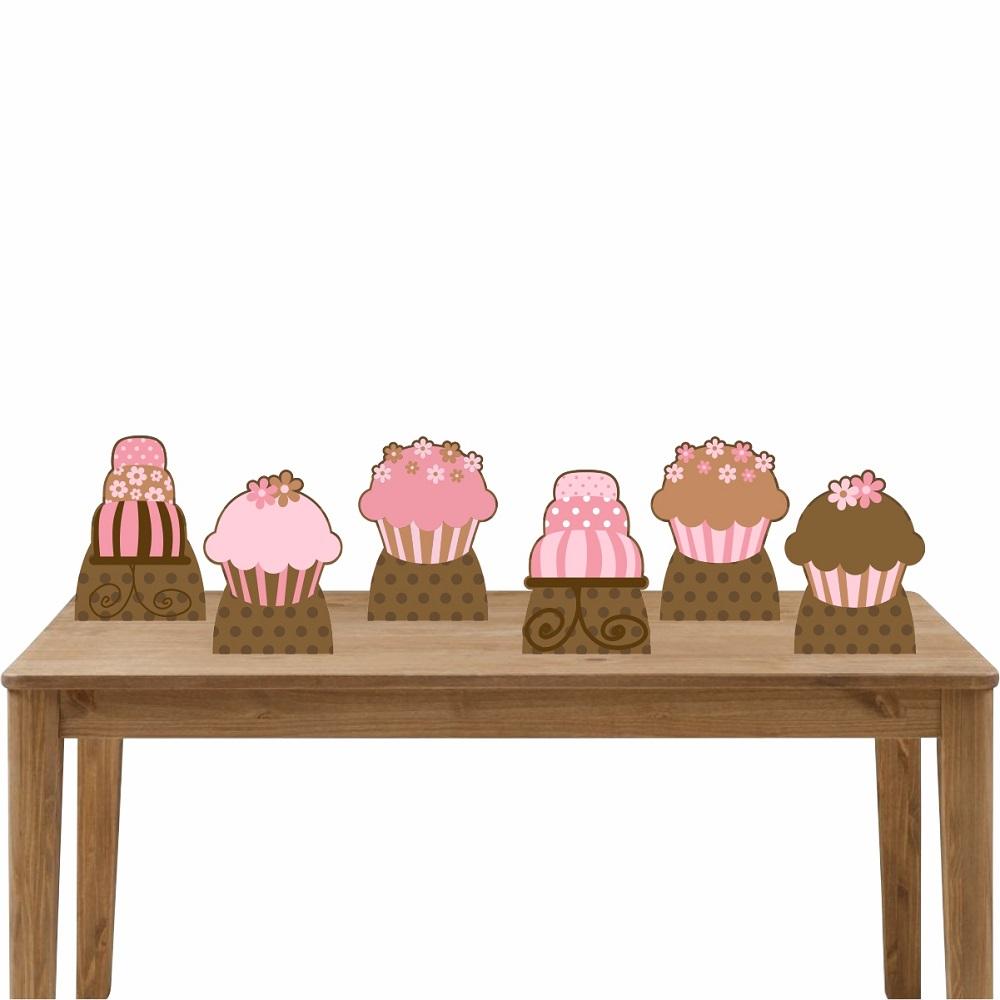 Kit Festa 6 Displays de Mesa Aniversário Cupcakes e Bolo