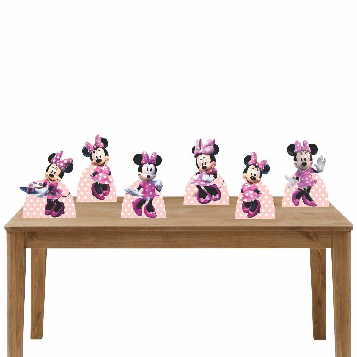 Kit Festa 6 Displays de Mesa Aniversário Minnie Rosa