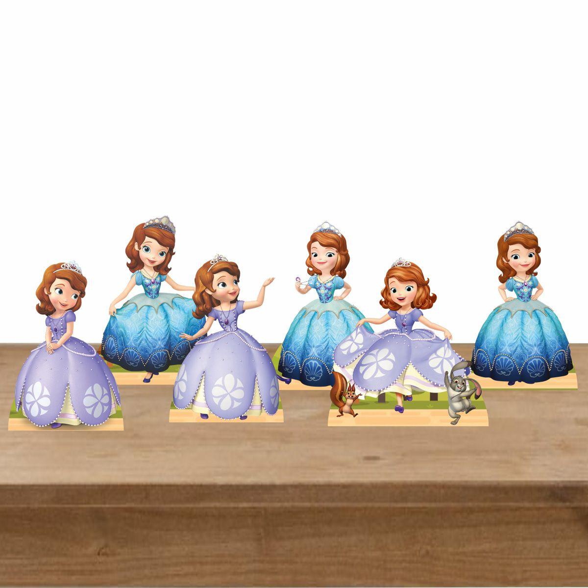 Kit Festa 6 Displays de Mesa Aniversário Princesa Sofia
