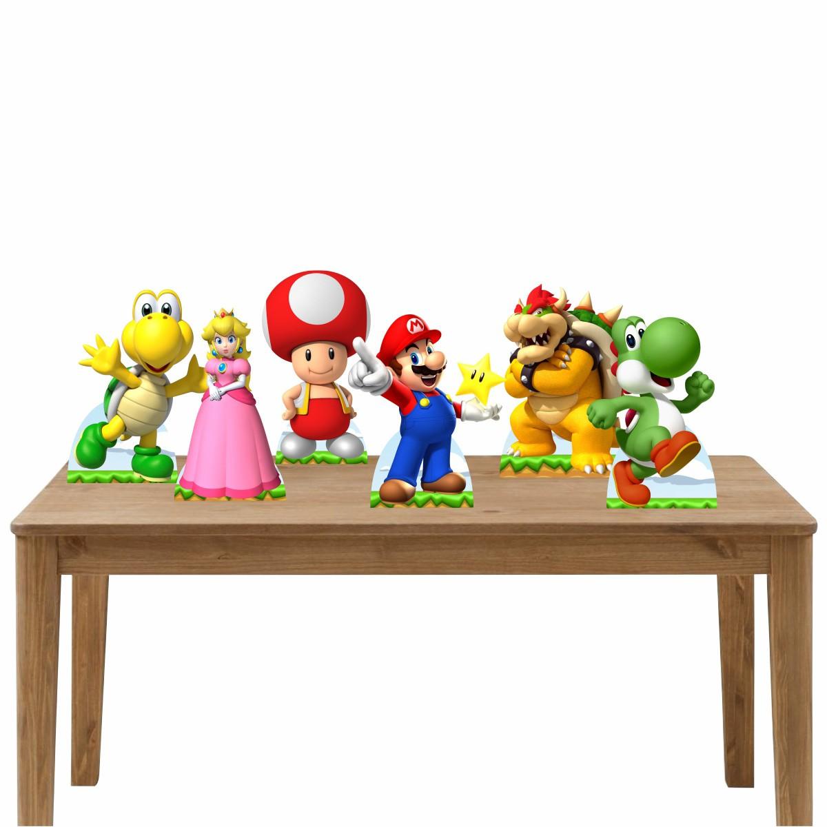 Kit Festa 6 Displays de Mesa Aniversário Super Mario