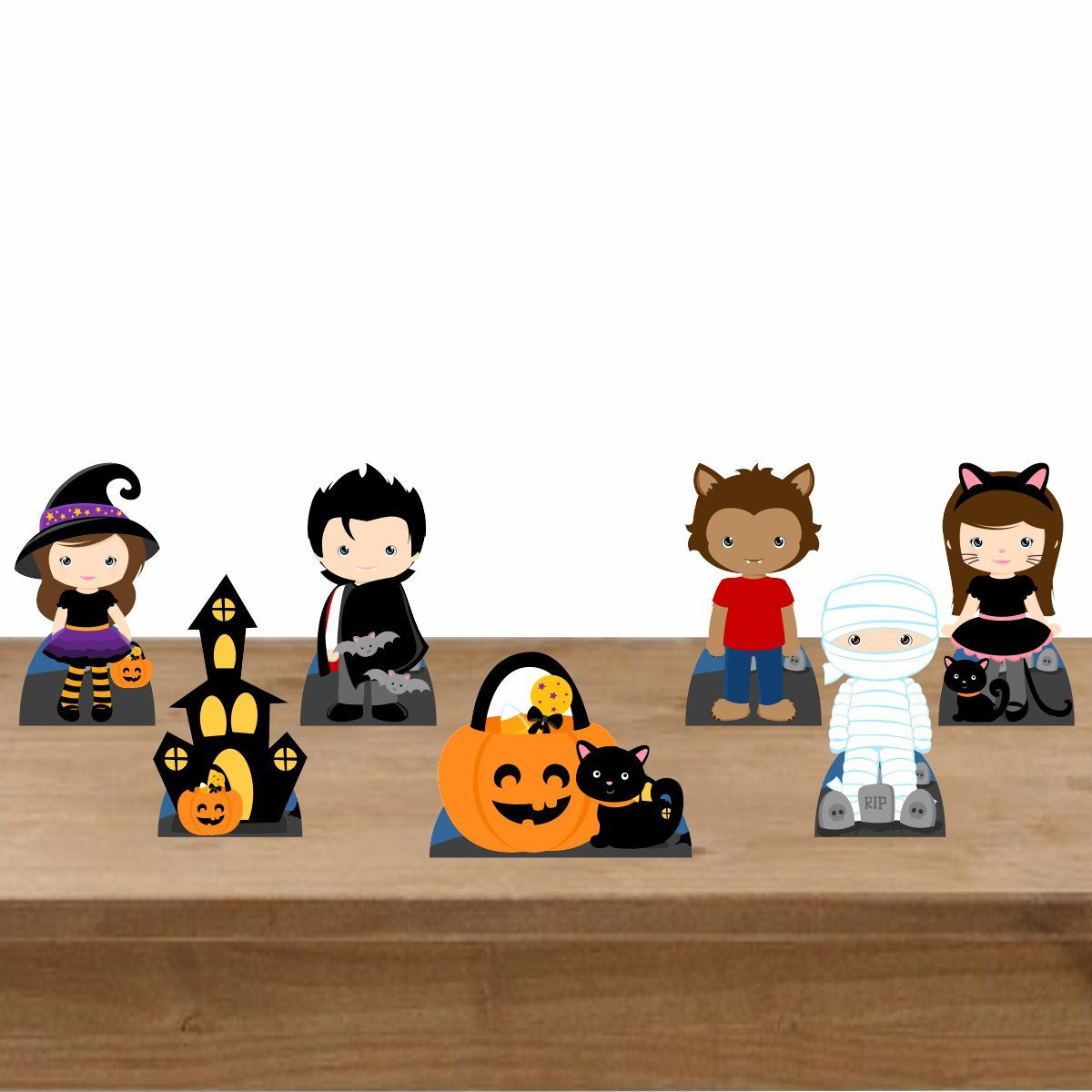 Kit Festa 7 Displays Mesa Aniversário Halloween