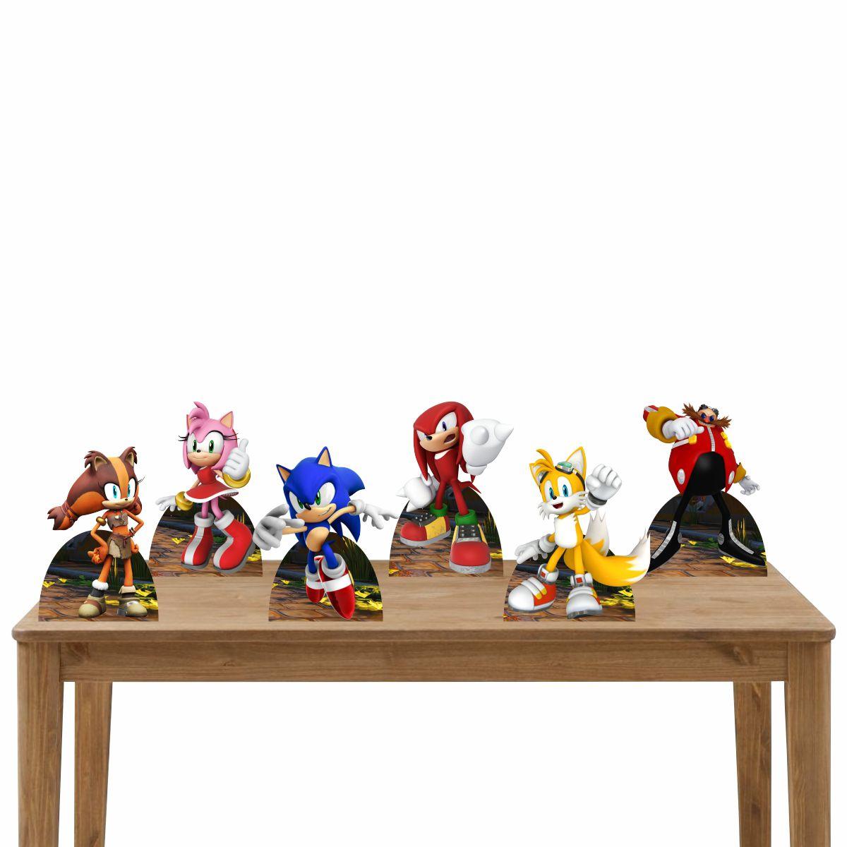 Kit Festa 6 Displays Mesa Aniversário Sonic
