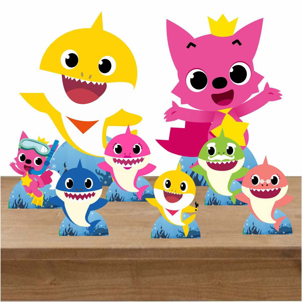 Kit Festa Totem Display Baby Shark Amarelo e Raposa -8 Peças