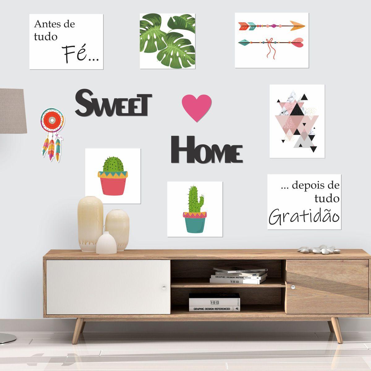 Kit Placas e Frases Decorativas Sweet Home