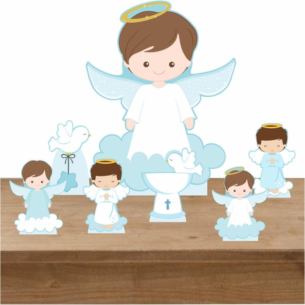 Kit Totem Display Para Decoração Batizado Menino 7 Peças