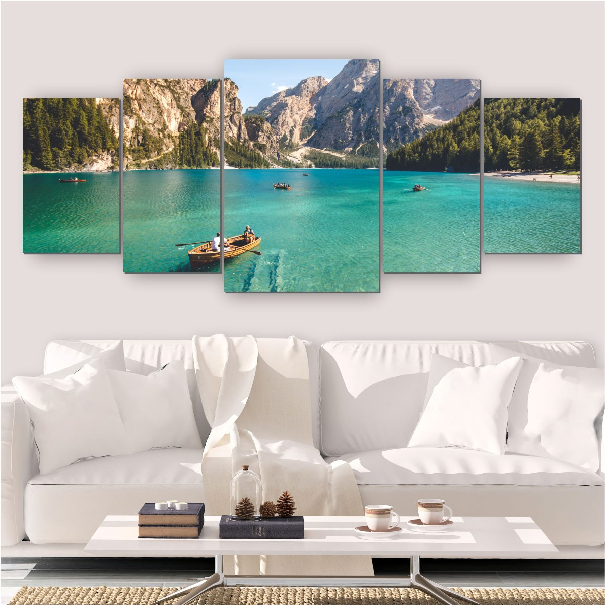 Quadros Decorativos Mosaico Quarto Sala Barco 5 peças - 144x60cm