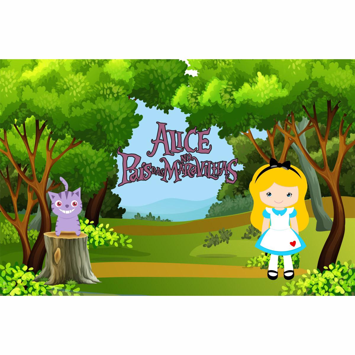 Painel de Festa lona Alice no País das Maravilhas