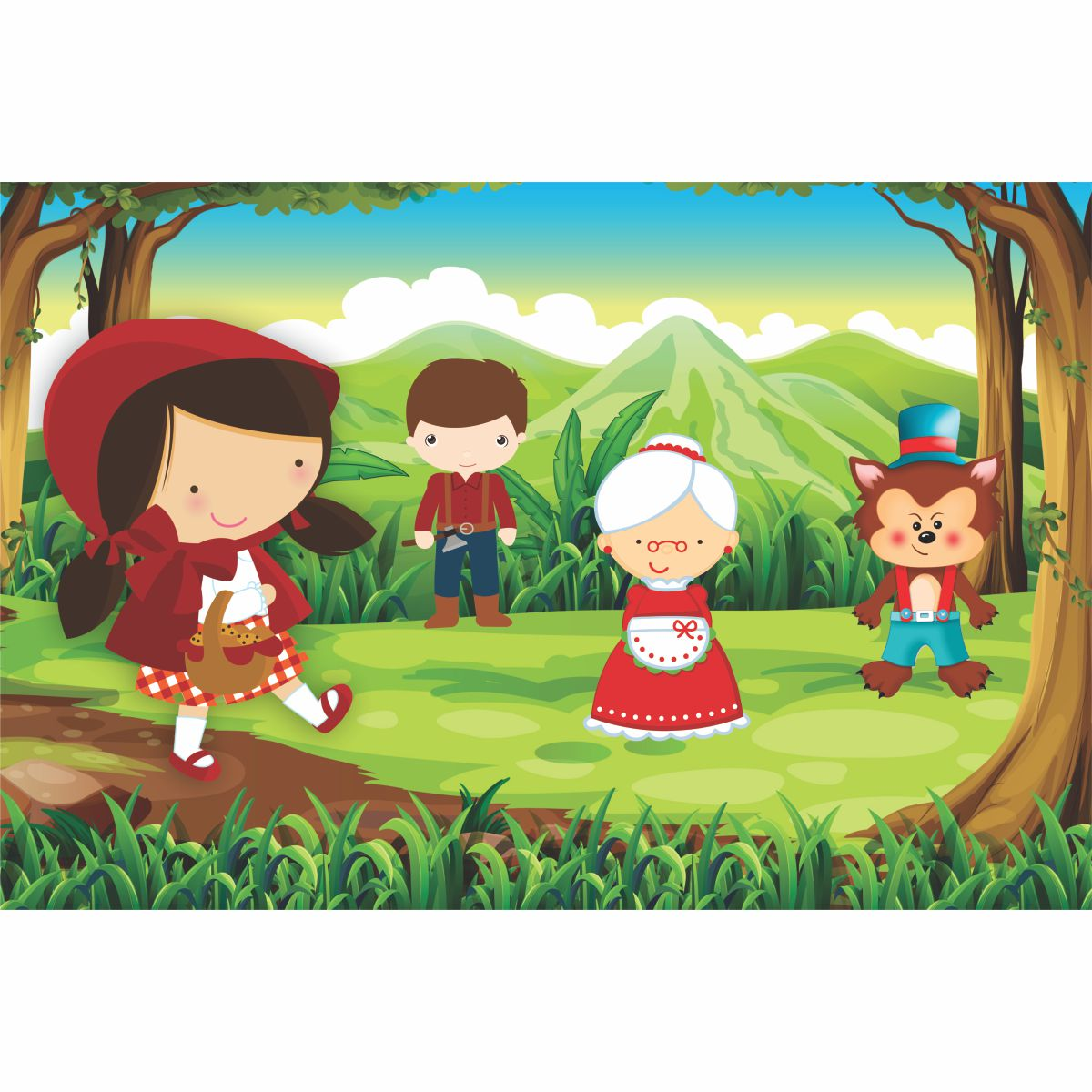 Painel de Festa Lona Chapeuzinho Vermelho