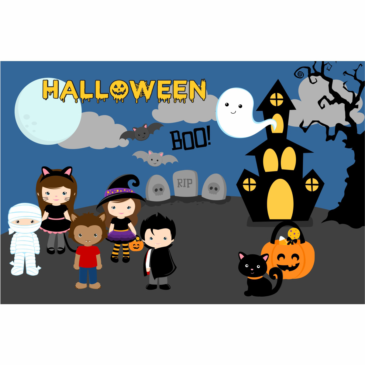 Painel de Festa Lona Halloween
