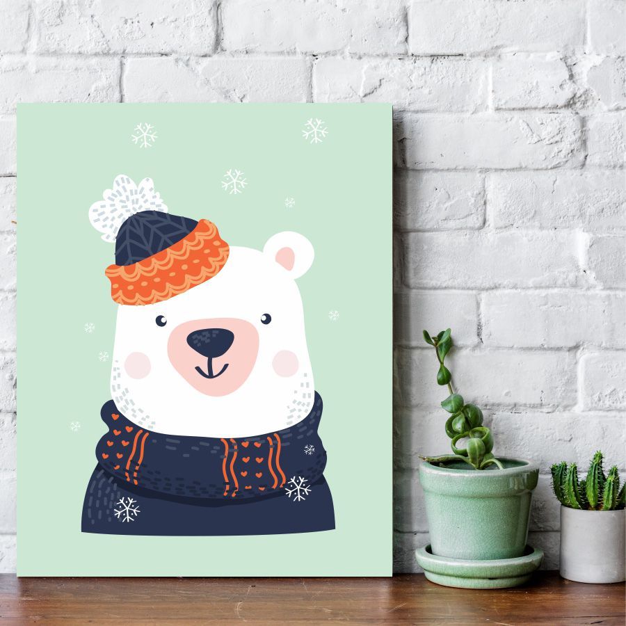Placa Decorativa Urso no Inverno