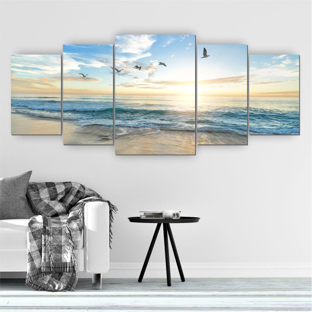 Quadro Decorativo Mosaico Sala Quarto Praia 5 peças 144x60cm