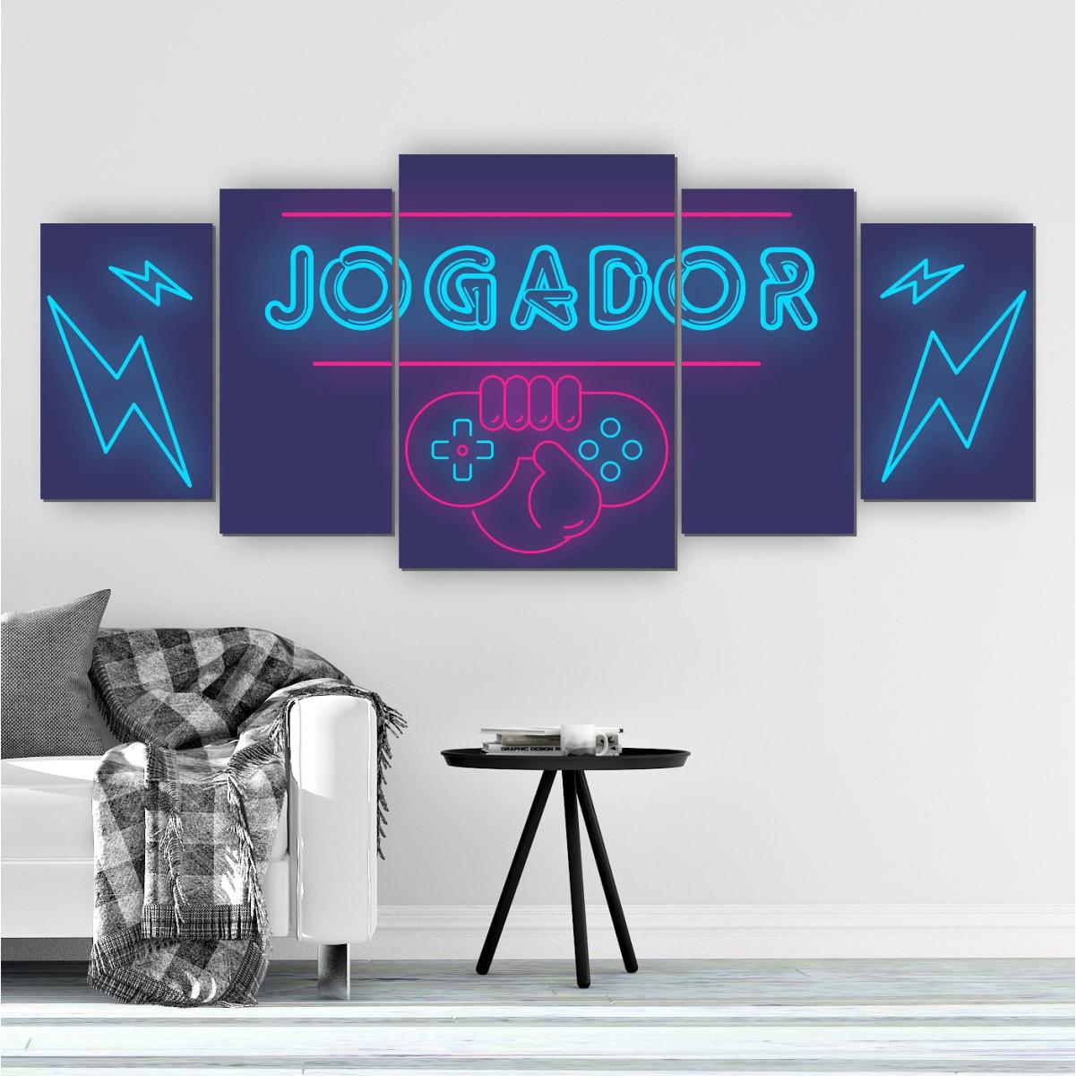 Quadros Decorativos Mosaico Quarto Jogador 5 peças - 144x60cm