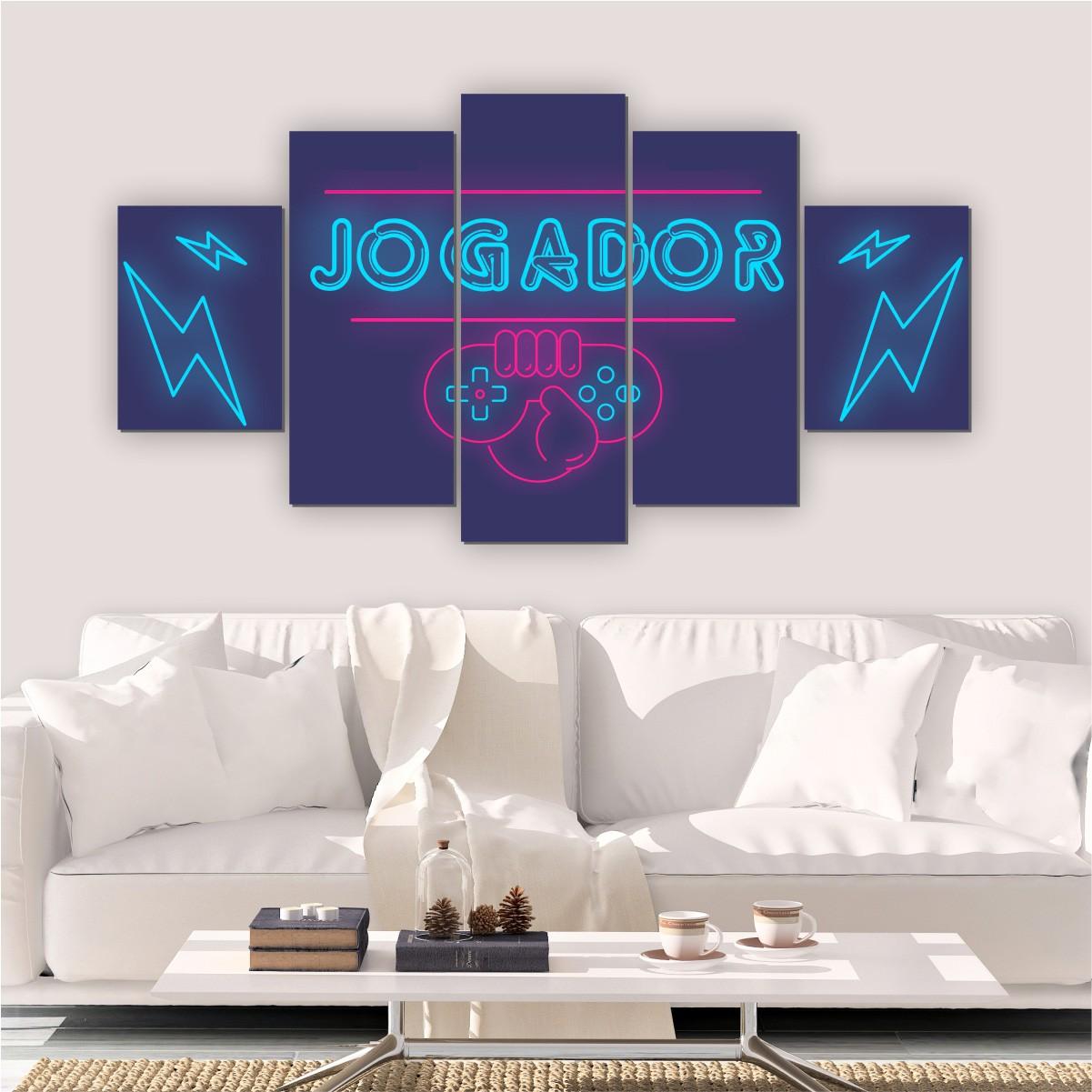 Quadros Decorativos Mosaico Quarto Jogador 5 peças