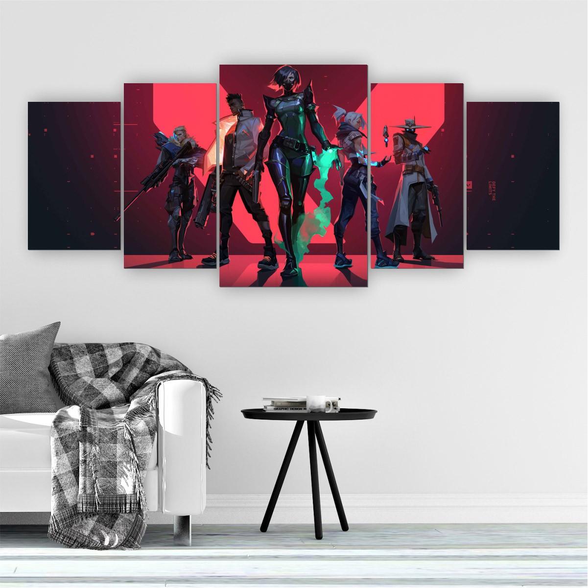 Quadros Decorativos Mosaico Quarto Jogo Valorant 5 peças - 144x60cm