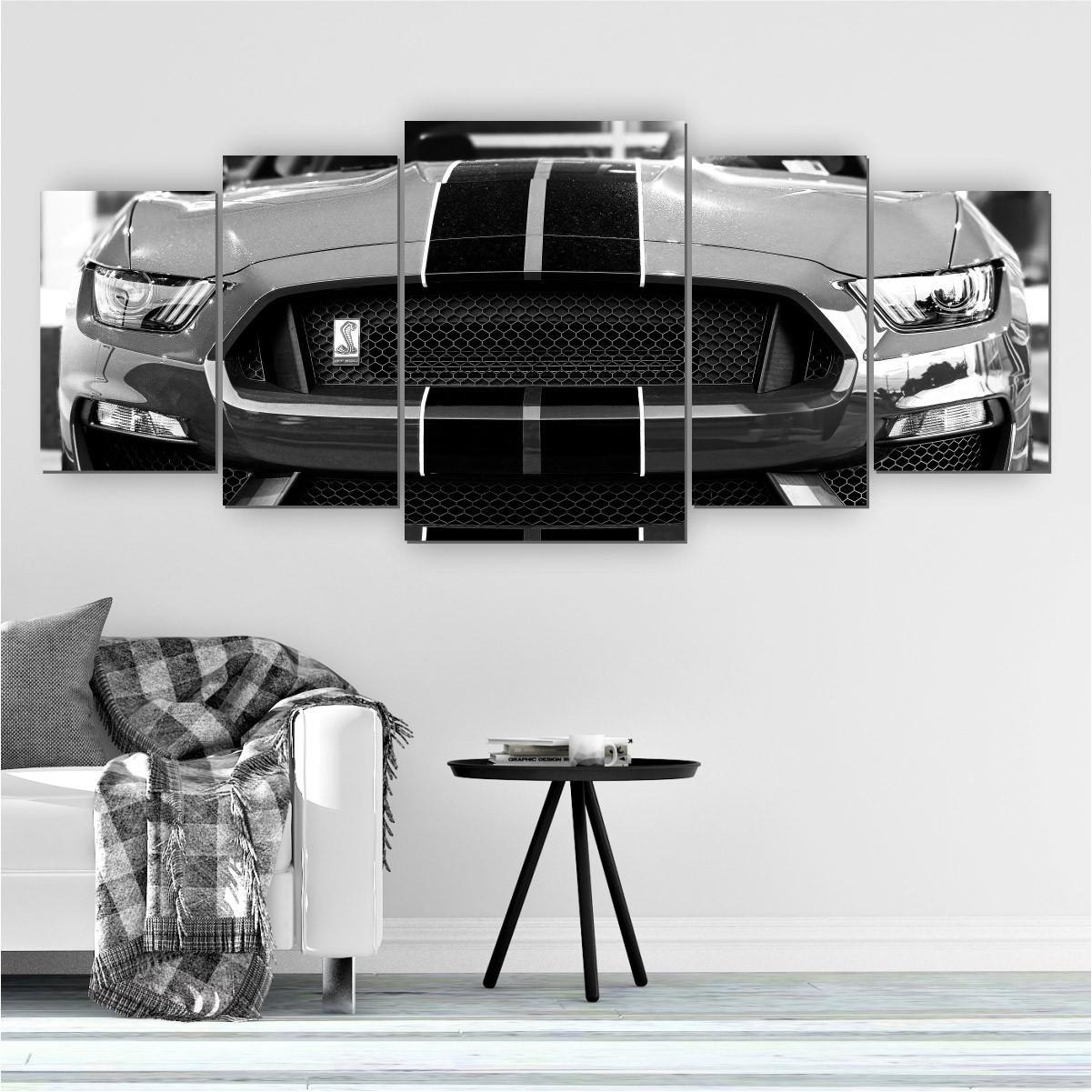 Quadro Decorativo Mosaico Quarto Sala Carro Preto e Branco 5 peças - 144x60cm